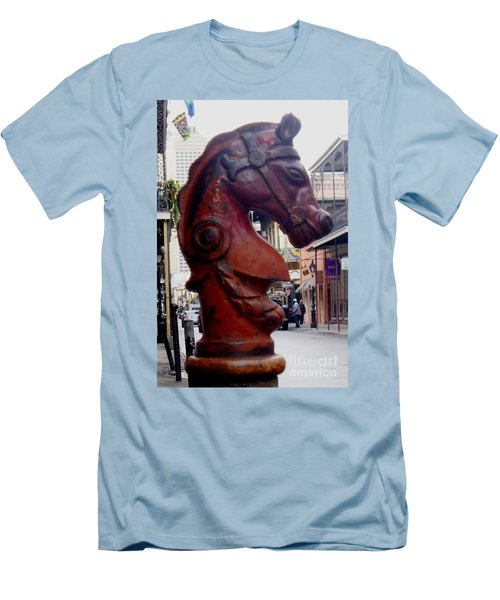 Men's T-Shirt (Slim Fit) featuring the photograph Red Horse Head Post by Alys Caviness-Gober
