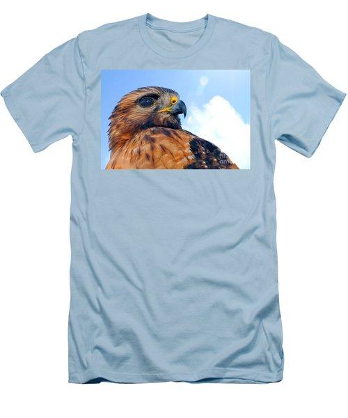 Men's T-Shirt (Slim Fit) featuring the photograph Red Shouldered Hawk Portrait by Dan Friend