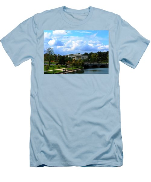 Men's T-Shirt (Slim Fit) featuring the photograph Rose Garden And Hoyt Lake by Michael Frank Jr
