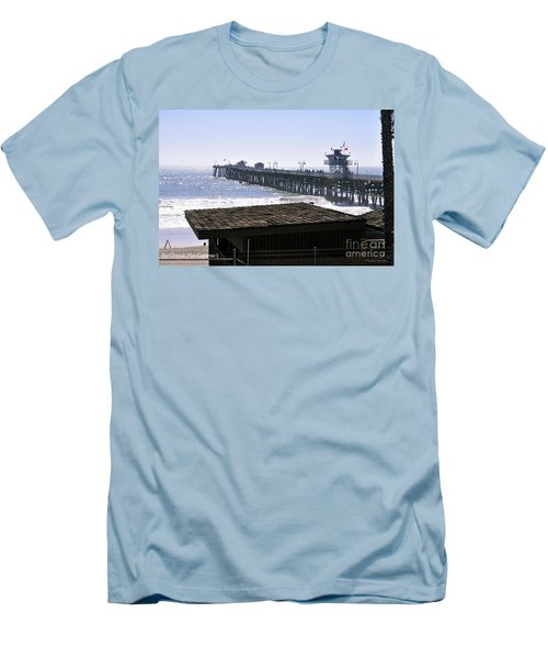 Men's T-Shirt (Slim Fit) featuring the photograph San Clemente Pier California by Clayton Bruster
