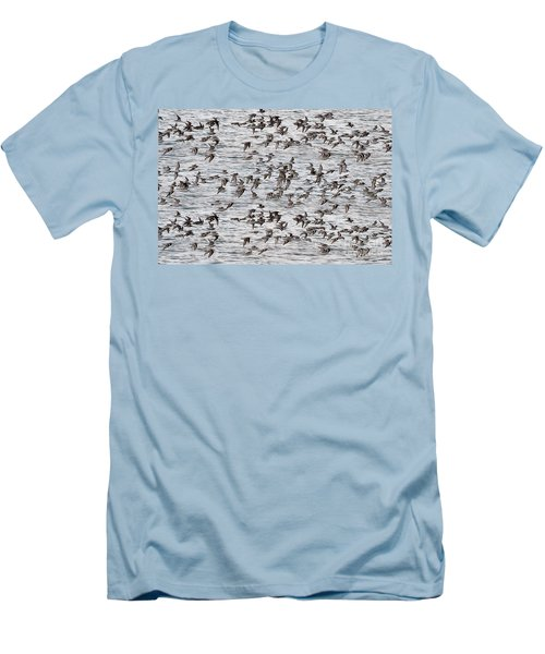 Men's T-Shirt (Slim Fit) featuring the photograph Sandpipers In Flight by Dan Friend