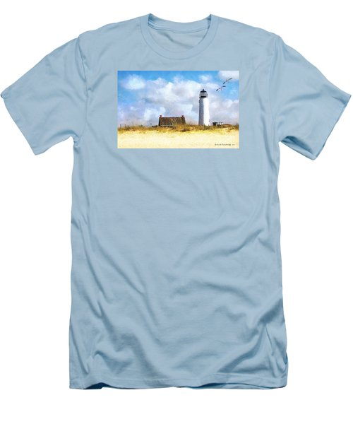 St. George Island Lighthouse Men's T-Shirt (Slim Fit) by Rhonda Strickland