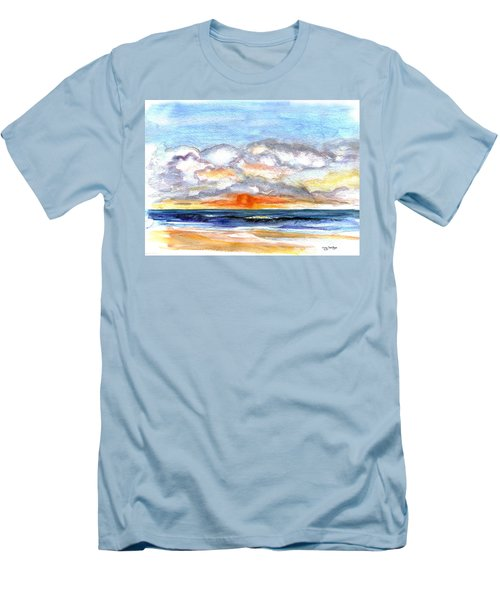 Men's T-Shirt (Slim Fit) featuring the painting Sunset Clouds by Clara Sue Beym