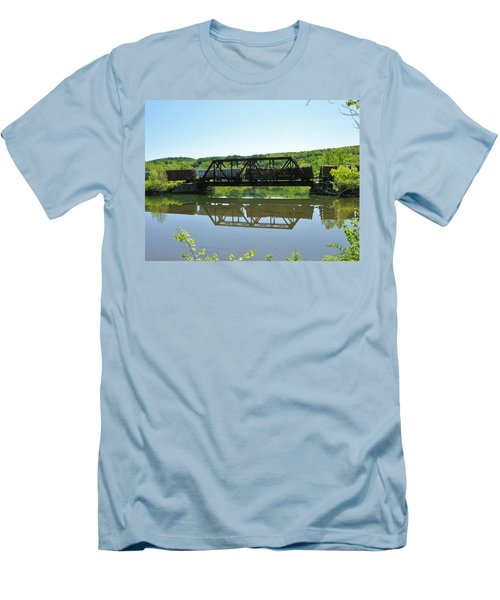 Men's T-Shirt (Slim Fit) featuring the photograph Train And Trestle by Sherman Perry