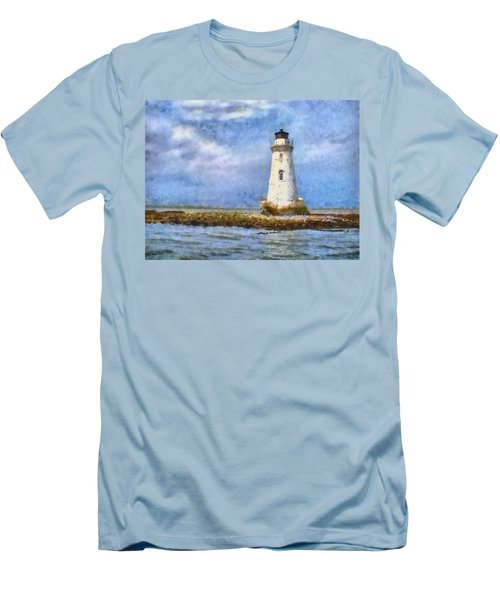 Men's T-Shirt (Slim Fit) featuring the painting Tybee Island Lighthouse by Lynne Jenkins