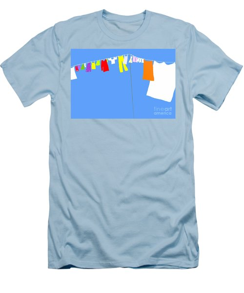 Washing Line Simplified Edition Men's T-Shirt (Slim Fit) by Barbara Moignard