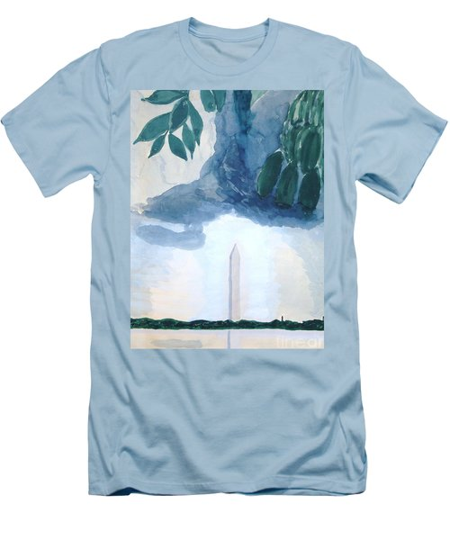 Men's T-Shirt (Athletic Fit) featuring the painting Washington Monument by Rod Ismay