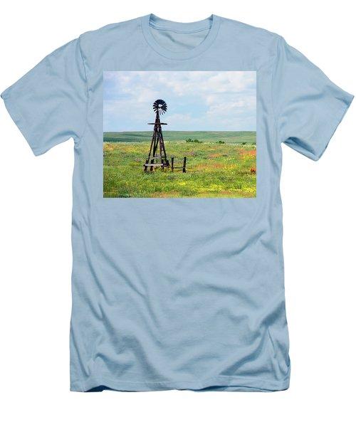 Western Kansas Wooden Windmill  Men's T-Shirt (Slim Fit) by Michael Flood