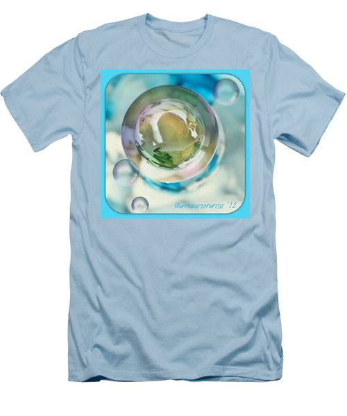 White Gladiola Marble In A Bubble Men's T-Shirt (Athletic Fit)