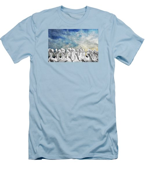 White Pelicans In Group Men's T-Shirt (Athletic Fit)
