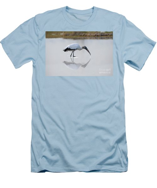 Men's T-Shirt (Slim Fit) featuring the photograph Wood Stork Eating by Dan Friend