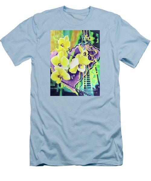 Yellow Orchids Of The Heart Men's T-Shirt (Slim Fit) by Kathy Braud