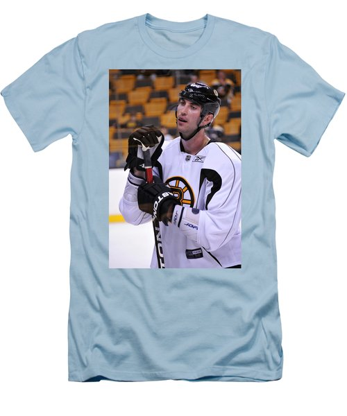 Men's T-Shirt (Slim Fit) featuring the photograph Zdeno Chara Takes A Break by Mike Martin