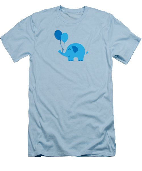 Sweet Funny Baby Elephant With Balloons Men's T-Shirt (Athletic Fit)