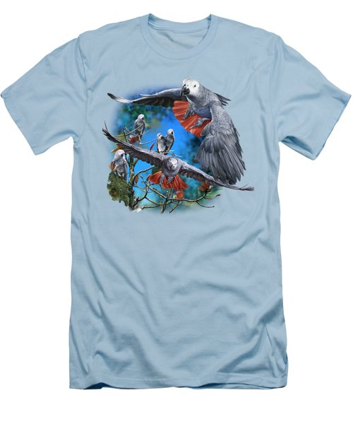 African Grey Parrots Men's T-Shirt (Slim Fit) by Owen Bell