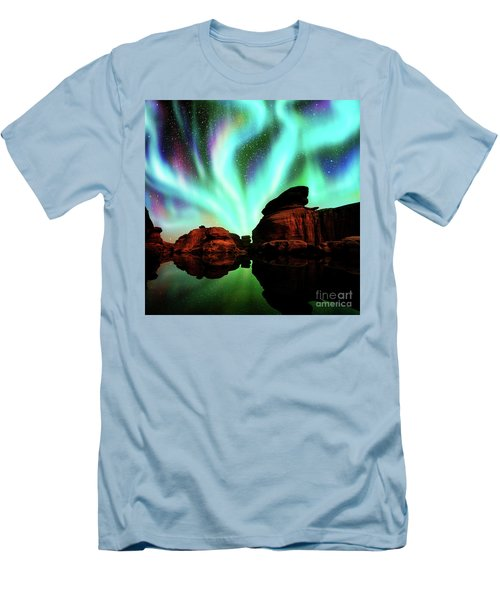 Aurora Over Lagoon Men's T-Shirt (Slim Fit) by Atiketta Sangasaeng