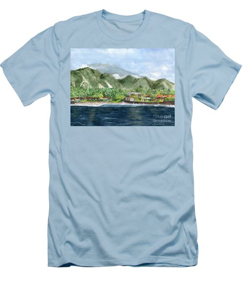 Men's T-Shirt (Slim Fit) featuring the painting Blue Lagoon Bali Indonesia by Melly Terpening