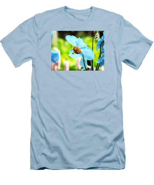 Blue Poppy Men's T-Shirt (Slim Fit) by Zinvolle Art