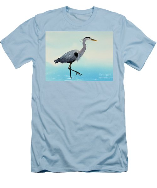 Men's T-Shirt (Slim Fit) featuring the painting Blue Water Heron by James Williamson