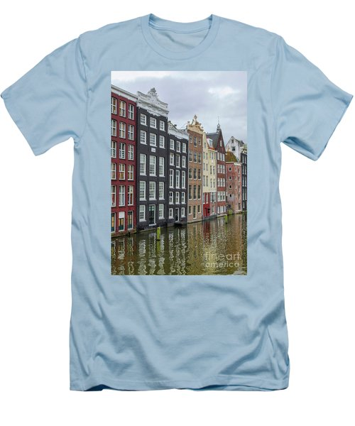 Canal Houses In Amsterdam Men's T-Shirt (Slim Fit) by Patricia Hofmeester