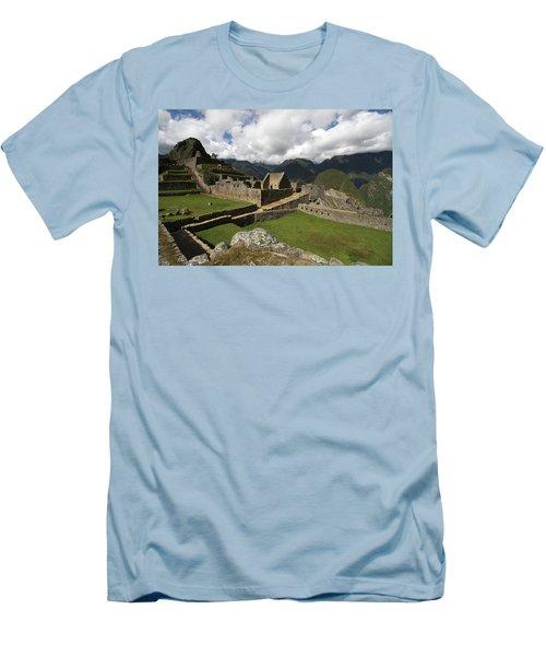Central Plaza At Machu Picchu Men's T-Shirt (Slim Fit) by Aidan Moran