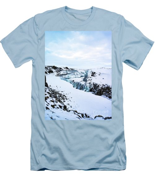 Cold Winter Day At Gullfoss, Iceland Men's T-Shirt (Athletic Fit)
