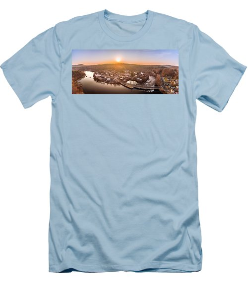 Men's T-Shirt (Slim Fit) featuring the photograph Colinsville, Connecticut Sunrise Panorama by Petr Hejl