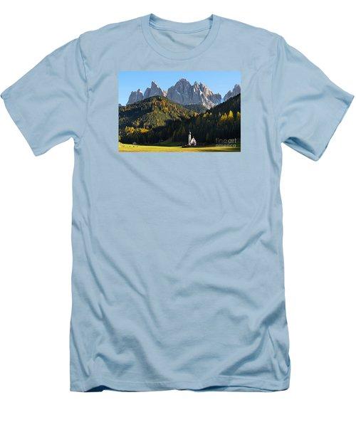 Dolomites Mountain Church Men's T-Shirt (Slim Fit) by IPics Photography