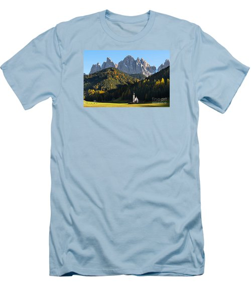 Dolomites Mountain Church Men's T-Shirt (Athletic Fit)