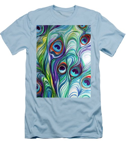 Feathers Peacock Abstract Men's T-Shirt (Slim Fit) by Marcia Baldwin