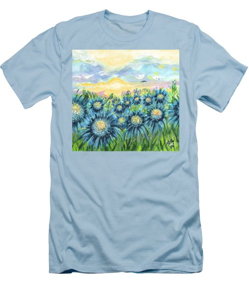 Field Of Blue Flowers Men's T-Shirt (Slim Fit) by Holly Carmichael