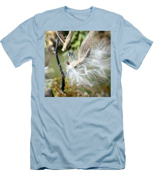 Flight Of The Milkweed Men's T-Shirt (Slim Fit) by Lauren Radke