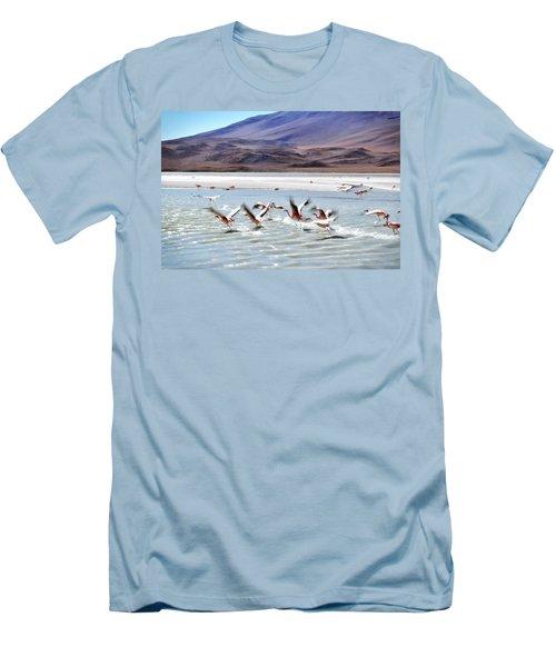 Flying Flamingos Men's T-Shirt (Athletic Fit)