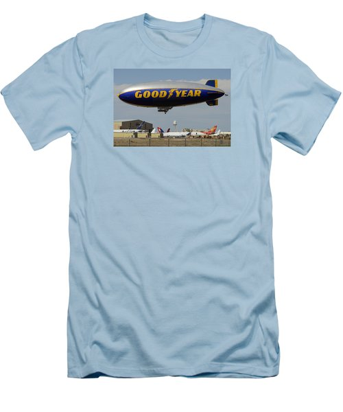 Goodyear Blimp Spirit Of Innovation Goodyear Arizona September 13 2015 Men's T-Shirt (Slim Fit) by Brian Lockett