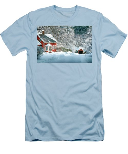 Men's T-Shirt (Slim Fit) featuring the photograph Green River Bridge In Snow by Paul Miller