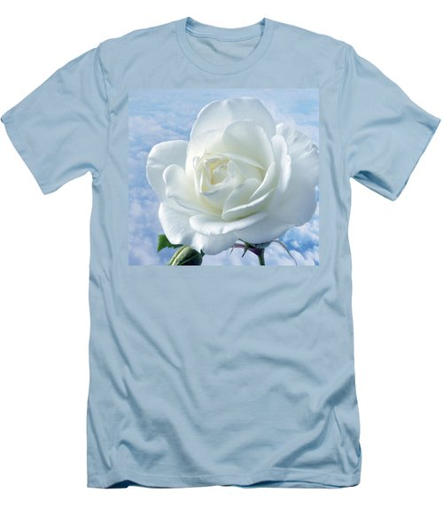 Heavenly White Rose. Men's T-Shirt (Slim Fit) by Terence Davis