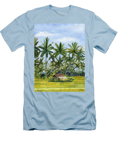 Men's T-Shirt (Slim Fit) featuring the painting Home Bali Ubud Indonesia by Melly Terpening