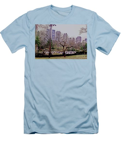 Ice Skaters On Wollman Rink Men's T-Shirt (Slim Fit) by Sandy Moulder