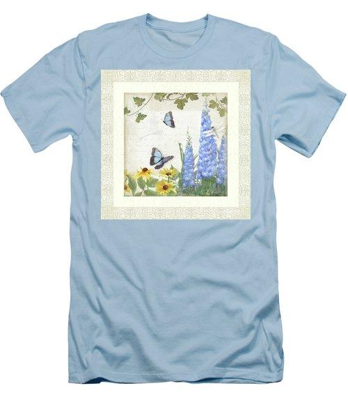 Men's T-Shirt (Athletic Fit) featuring the painting Le Petit Jardin 1 - Garden Floral W Butterflies, Dragonflies, Daisies And Delphinium by Audrey Jeanne Roberts