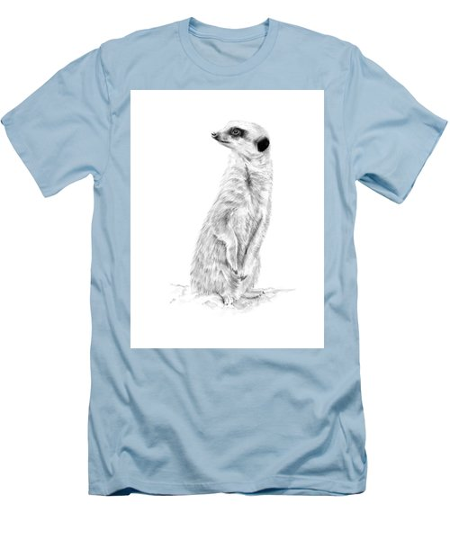 Men's T-Shirt (Athletic Fit) featuring the mixed media Meerkat In Charge by Elizabeth Lock
