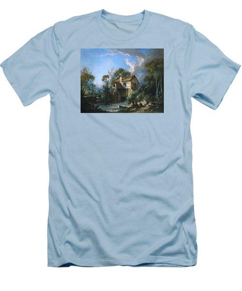 Mill At Charenton Men's T-Shirt (Slim Fit) by Francois Boucher