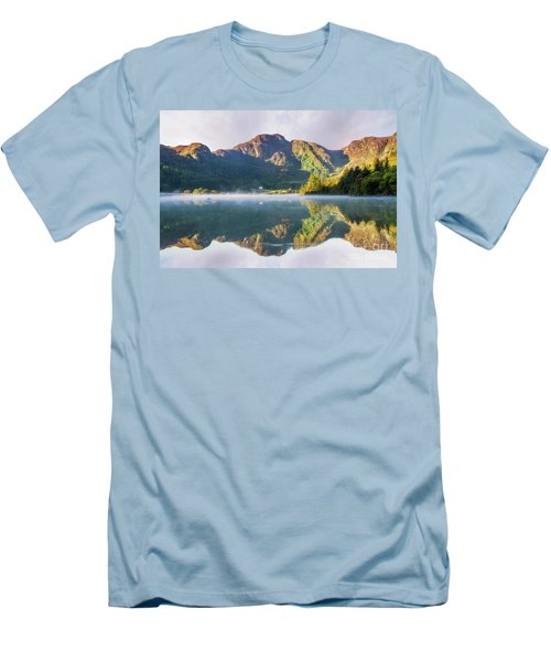 Men's T-Shirt (Slim Fit) featuring the photograph Misty Dawn Lake by Ian Mitchell