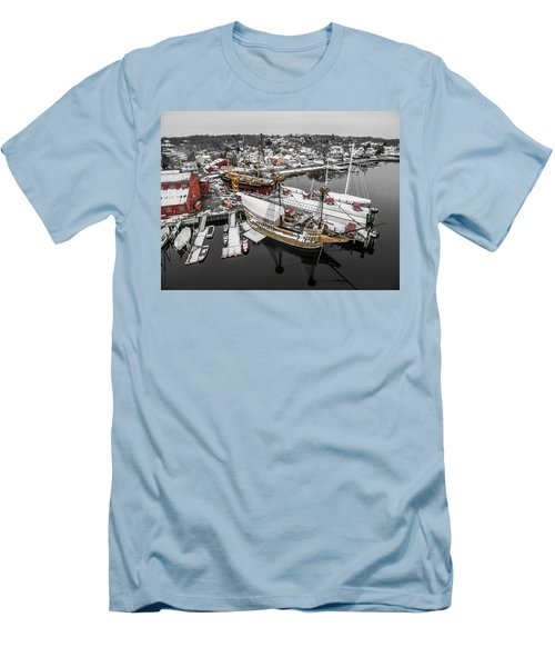 Men's T-Shirt (Slim Fit) featuring the photograph Mystic Seaport In Winter by Petr Hejl