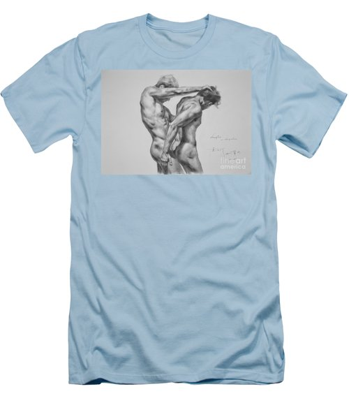 Original Drawing Sketch Charcoal Male Nude Gay Interest Man Art Pencil On Paper -0035 Men's T-Shirt (Slim Fit) by Hongtao     Huang
