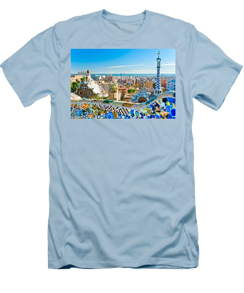 Park Guell Barcelona Men's T-Shirt (Slim Fit) by Luciano Mortula