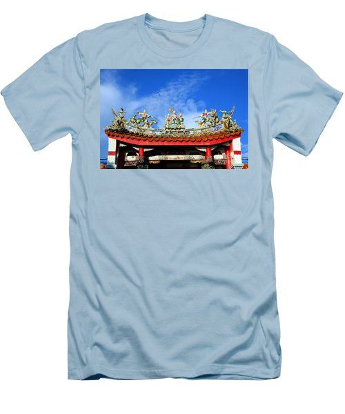 Men's T-Shirt (Slim Fit) featuring the photograph Richly Decorated Chinese Temple Roof by Yali Shi