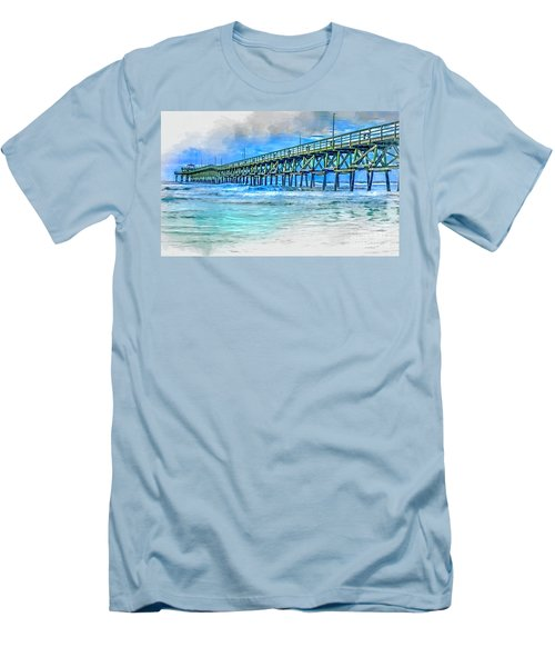 Sea Blue - Cherry Grove Pier Men's T-Shirt (Athletic Fit)