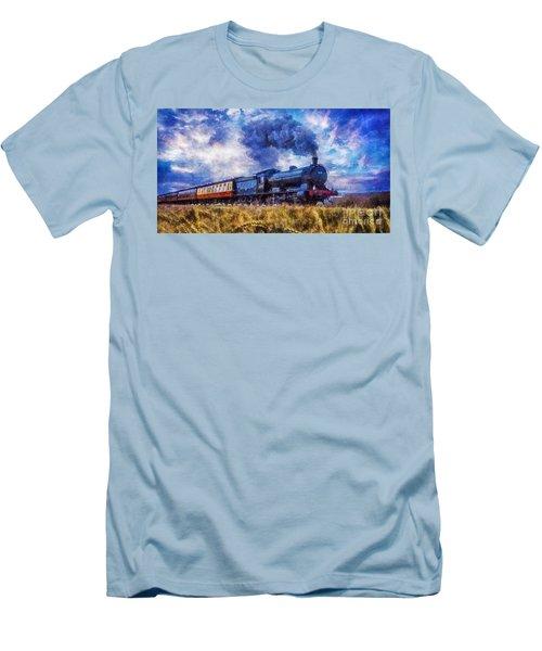 Men's T-Shirt (Slim Fit) featuring the digital art Steam Train by Ian Mitchell