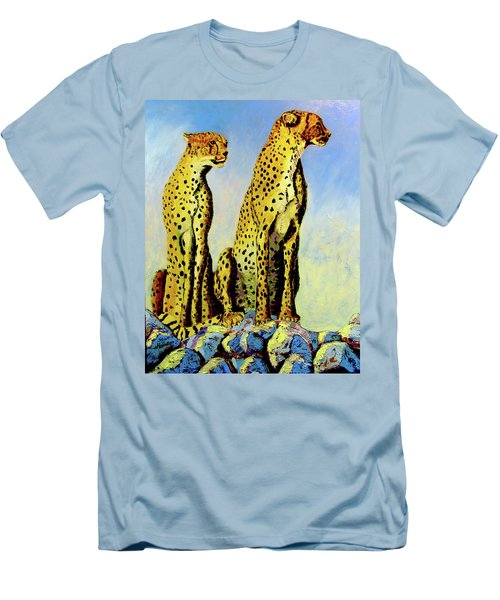 Two Cheetahs Men's T-Shirt (Slim Fit) by Stan Hamilton