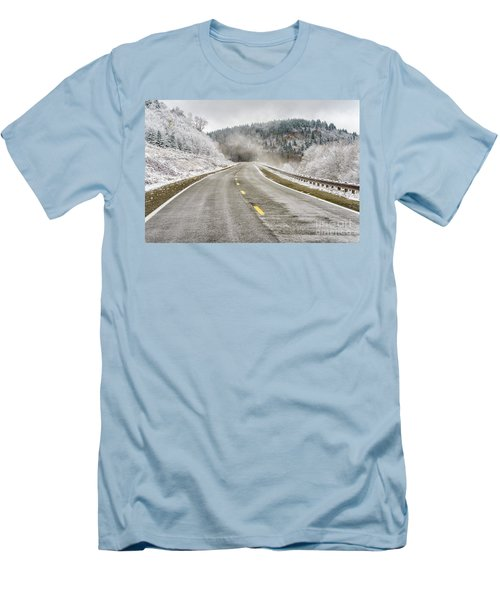 Men's T-Shirt (Slim Fit) featuring the photograph Unexpected Autumn Snow Highland Scenic Highway by Thomas R Fletcher